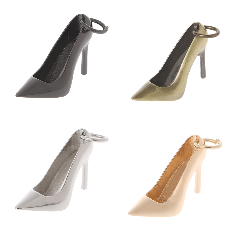 1 PC Women High Heel Keychain Metal Shoe Purse Charm Pendant Bag Keyring DIY Handbag Replacement Decoration Accessories 3 Color