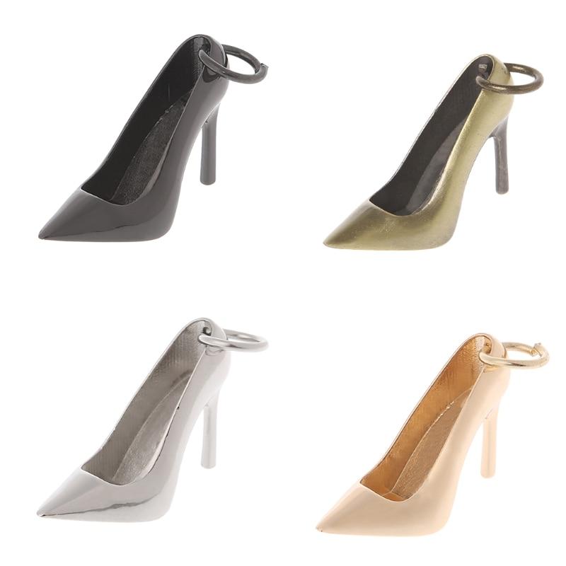 1 PC Women High Heel Keychain Metal Shoe Purse Charm Pendant Bag Keyring DIY Handbag Replacement Decoration Accessories 3 Color