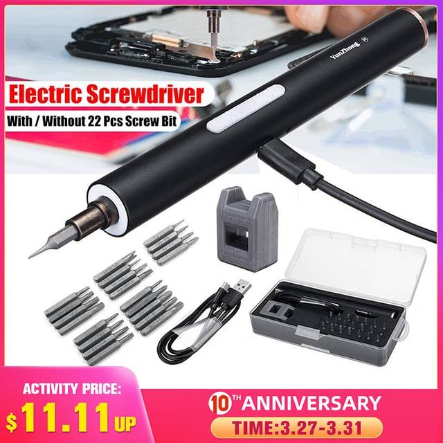 DOERSUPP Mini herramienta eléctrica inalámbrica con destornillador magnético, batería de ion de litio recargable, precisión, Juego de puntas de destornillador manual