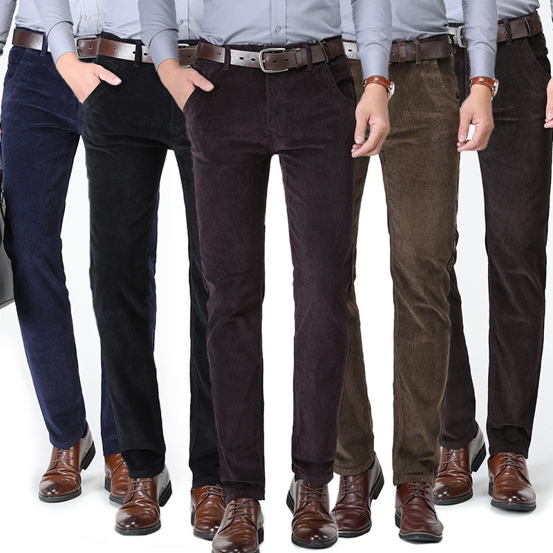 High Quality New Autumn And Winter 2020 Male Business Men's Trousers Straight Corduroy Corduroy Pants Breathable Casual Pants
