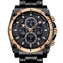 Роскошные мужские деловые часы, серебристые, черные кварцевые часы из нержавеющей стали, креативные водонепроницаемые часы с хронографом, ...