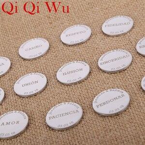 Image 3 - Gepersonaliseerde Bruiloft Arrhae Coin Arras De Boda Custom Gegraveerde Eenheid Munten Set Aangepaste Naam Bruid Huwelijksceremonie Sieraden