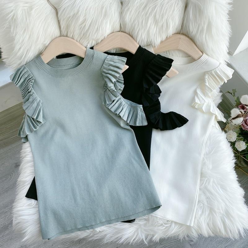 Kuzuwata Japanese Sweet Shirts Knitting Solid Off Shoulder Ruffles Folds Blouses 2021 Spring Autumn Temperament Women Tops 6