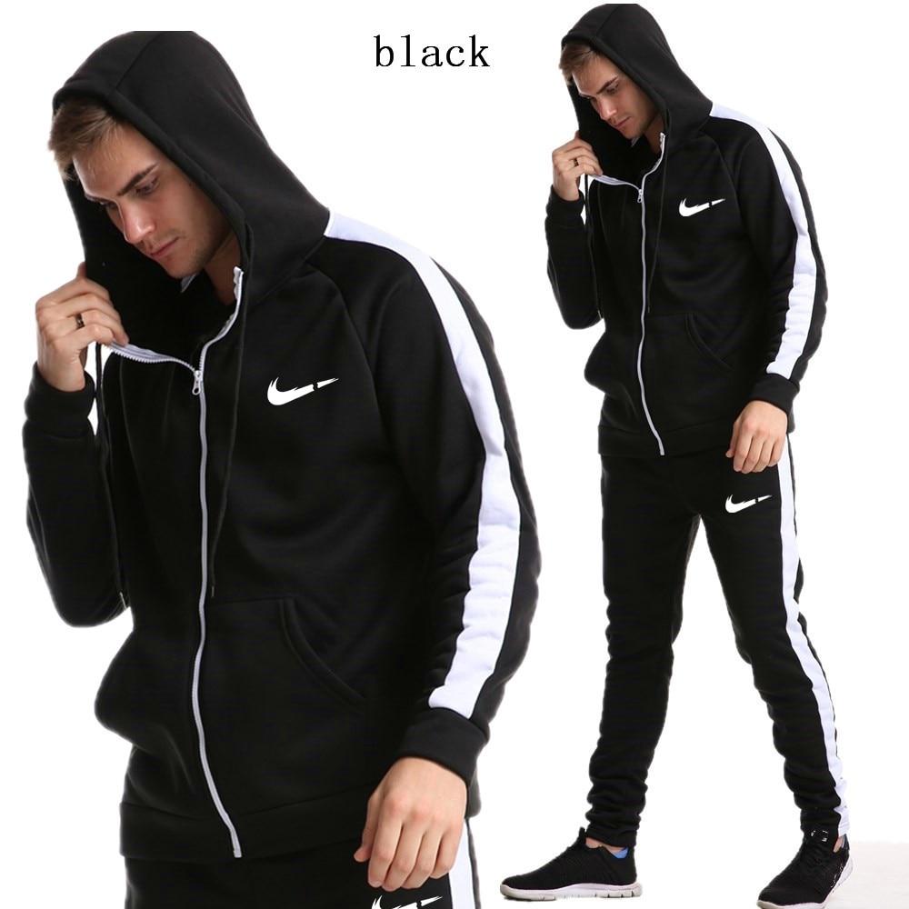 2019 New Fashion Men Hoodies Suits Brand Tracksuit Men/Women Sweatshirts+Sweatpants Autumn Winter Fleece Hooded Pullover 1