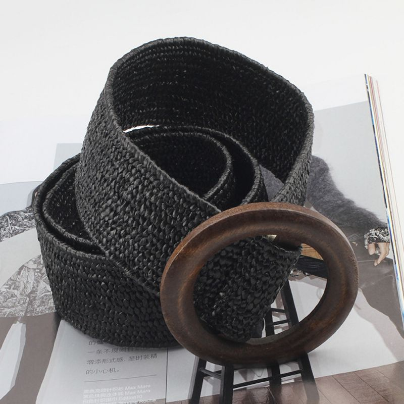 Women Bohemian Elastic Braided Belt Fashion Female Dress Jeans Wide Black PP Straw Designer Wood Buckle Boho Belts
