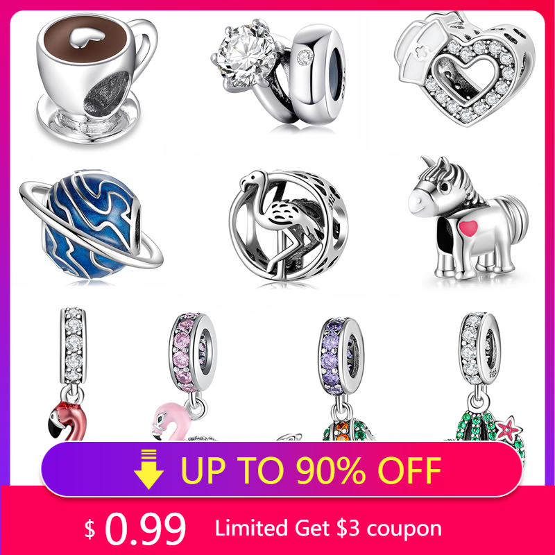 2021 HOT Sale 925 Silver Beads Pendant Coffee Cup Flamingo Cactus Planet Fit Original Pandora Bracelet DIY Jewelry Making