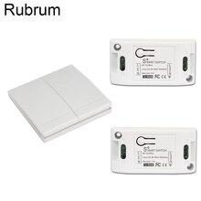Rubrum 433 mhz sem fio rf interruptor de controle remoto ac 110 v 220 v luz da lâmpada led interruptor do corredor sala casa 433 mhz painel parede interruptor