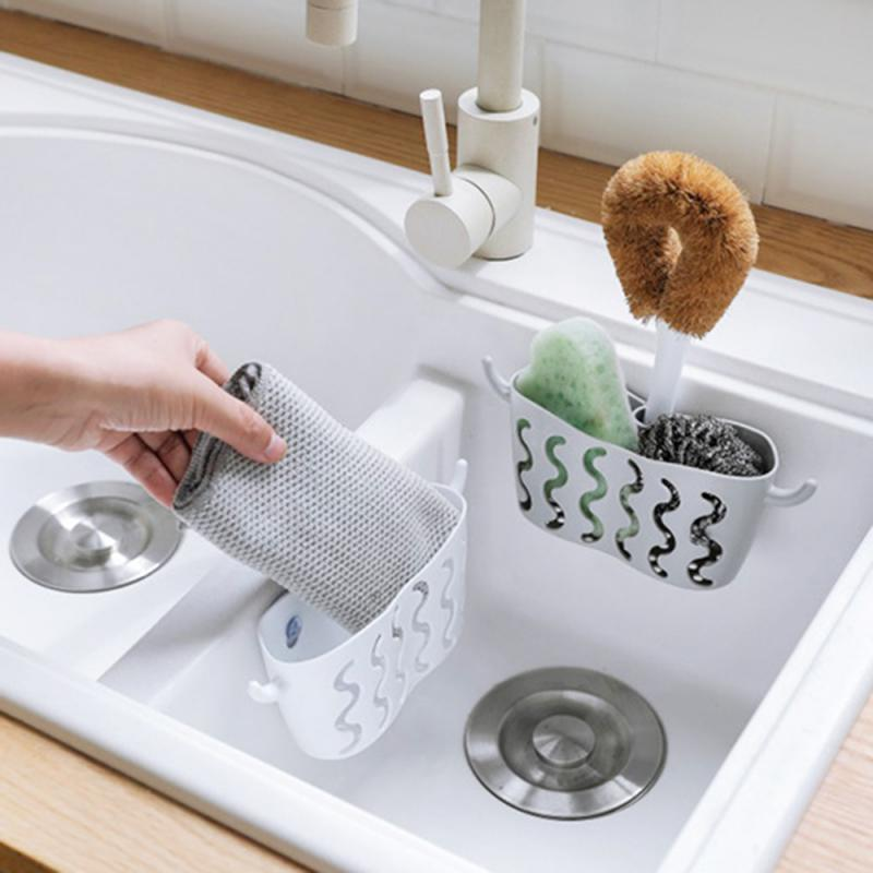 Storage Hanging Basket With Suction Cup Faucet Dish Washing Sponge Drain Basket Holder For Bathroom Kitchen Storage Shelf Rack