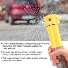 Flashlight Cutter Window-Breaker Safety-Hammer Car Seatbelt Emergency-Escape 4-In-1