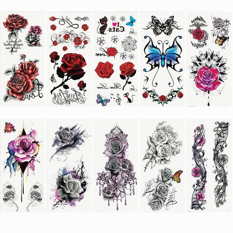 1pc Fashion Flowers Tattoo 90*190mm Women New Waterproof Temporary Black Tattoo Sticker Arm Body Art Children's Adult Hand Tatoo