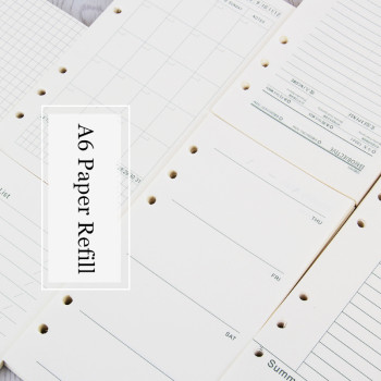 Paper Refill A6 Loose Leaf Notebook Journal 45 sheets Inside Binder Inner Page 6 Holes Doted Grid Weekly Monthly Planner ezone 5 sheets a6 6 holes notebook s index page paper separator page loose leaf book category page planner stationery papelaria