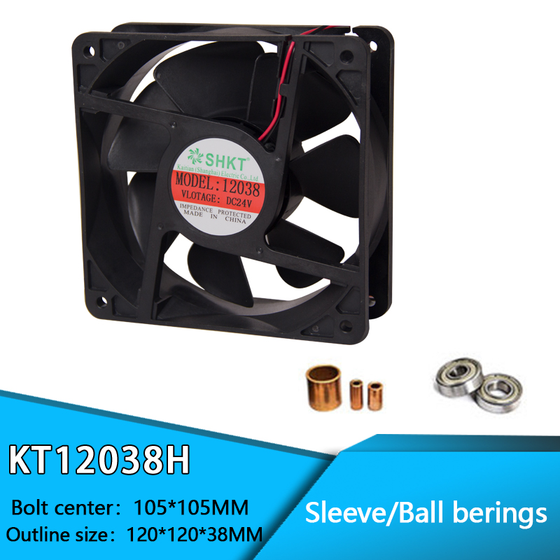 KT12038H Brushless PC Case CPU Cooler Cooling DC Fan 2 Pin 12 V / 24 V Sleeve And Ball Bearing 120mm X 38mm