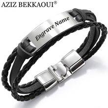 AZIZ BEKKAOUI, 4 цвета, модный, несколько слоев, гравировка имени, браслет для мужчин, сделай сам, винтажные кожаные браслеты и браслет, мужские ювелирные изделия