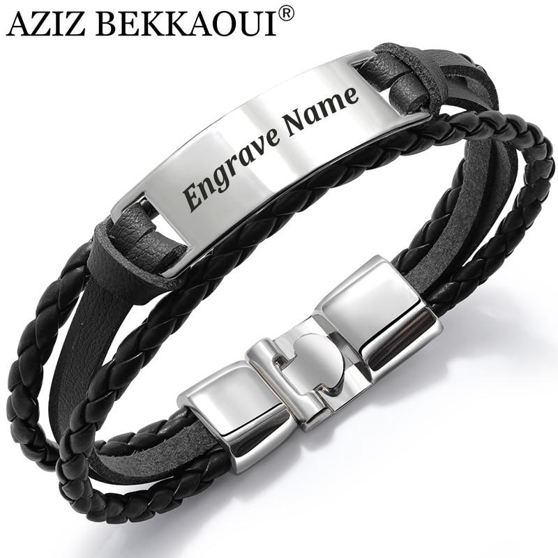 Custom Engraving Personalized Name Multi Layered Braided Wrap Leather ID Bracelet Cuff Bangle Men
