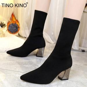 Image 1 - 新アンクルブーツ秋のポインテッドトゥストレッチニットソックスブーツプラスサイズハイヒール女性スリップ靴ホットファッション靴