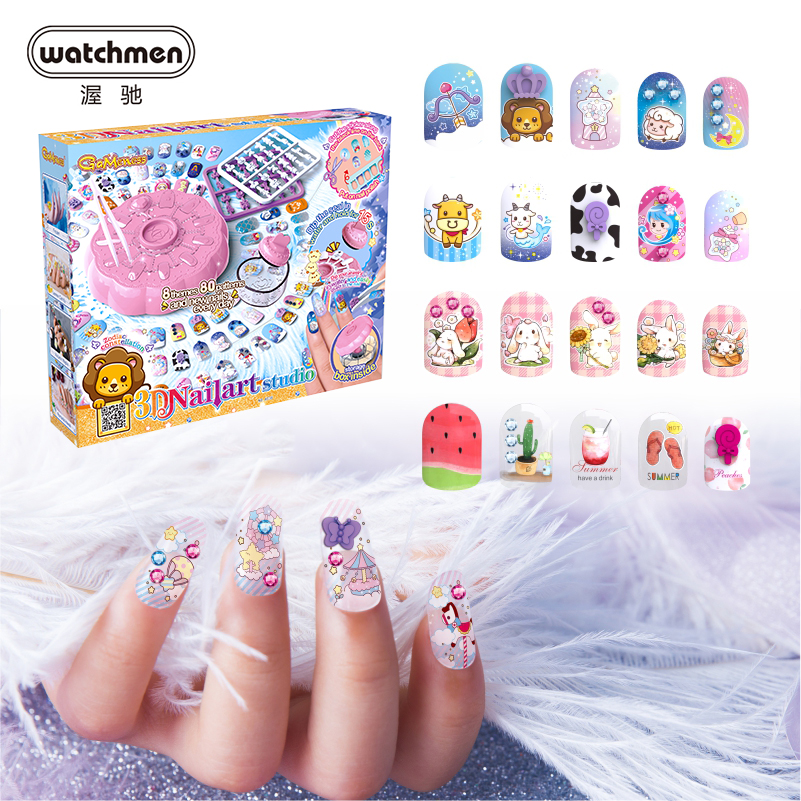 DIY 3D Nail Art Fashion Kids Makeup Set Box Princess Beauty Game Pretend Play Toys For Girl Adults 2020 New Christmas Gift Beauty & Fashion Toys  - AliExpress