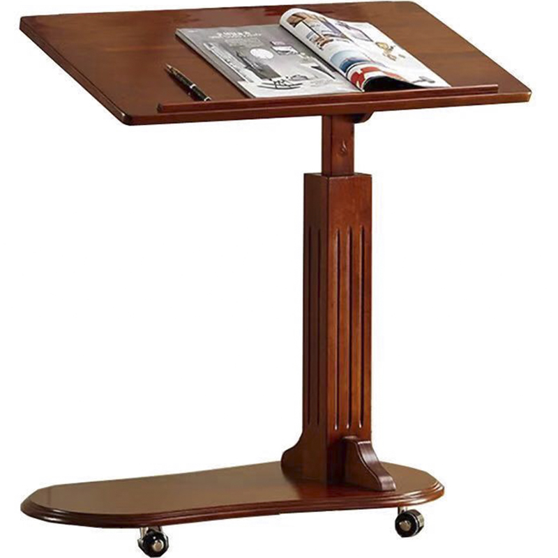 American Solid Wood Liftable Laptop Table Mobile Lazy  Bed With Coffee  And Wheeled Sofa Side