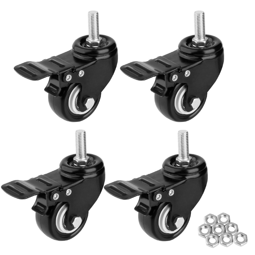 """1.5"""" Heavy Duty Swivel Caster Wheels Threaded Stem Casters with Brake Trolley Furniture Caster M8/M10x25 Threaded Stem and Nuts