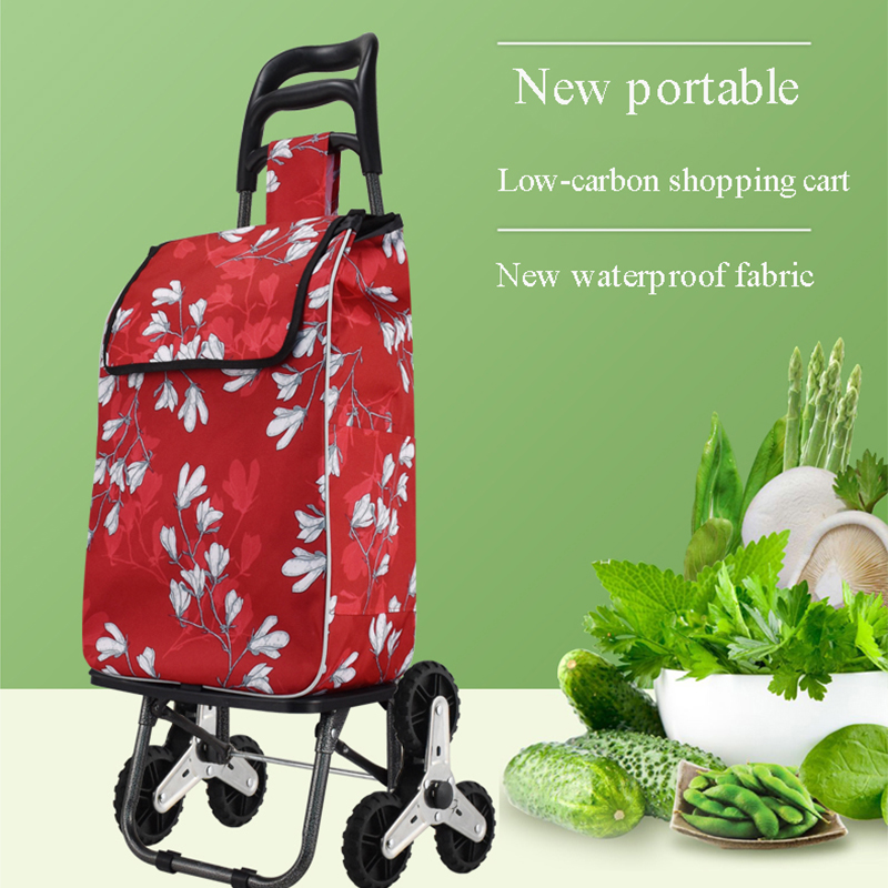 Environmentally friendly, lightweight grocery shopping cart, foldable small trolley supermarket climbing trolley for the elderly