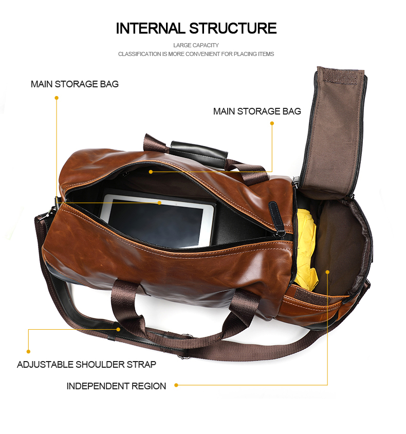 Xiao.P Brand Retro Brown Bucket Travel Bags Large Crazy Horse PU Leather Handbags Shoulder Bag Men Gym Duffle Bag 4