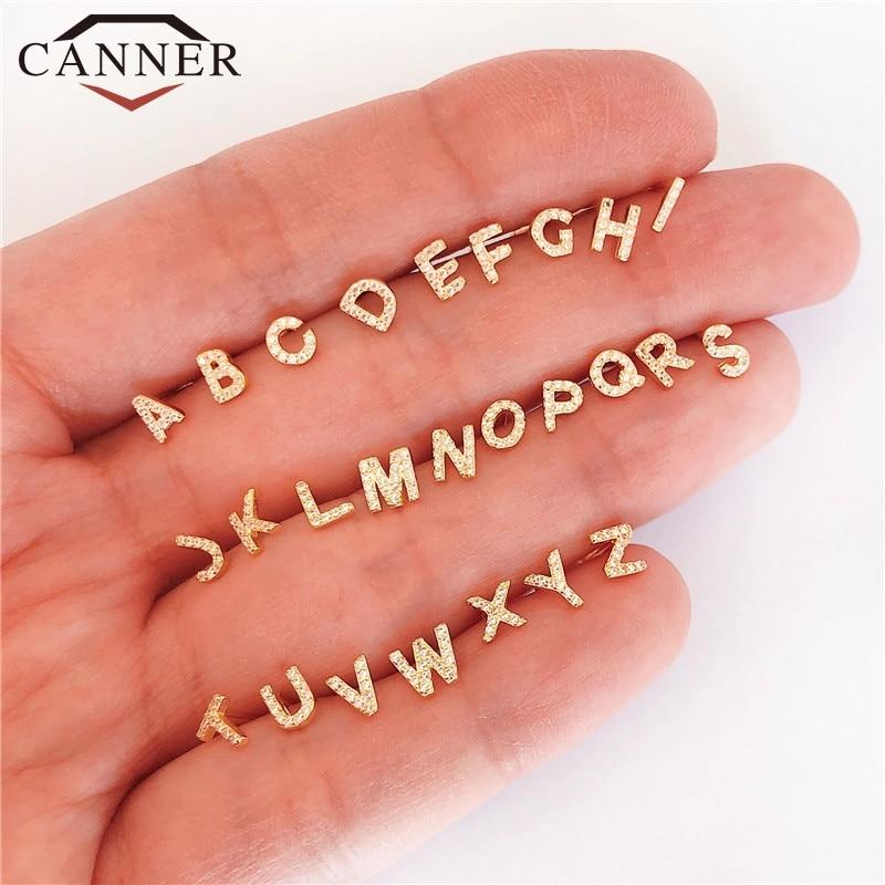 1 pair of Cute Mini 925 Sterling Silver Geometric English Letters Stud Earrings for Women Gold Silver Alphabet Zircon Studs|Stud Earrings| - AliExpress