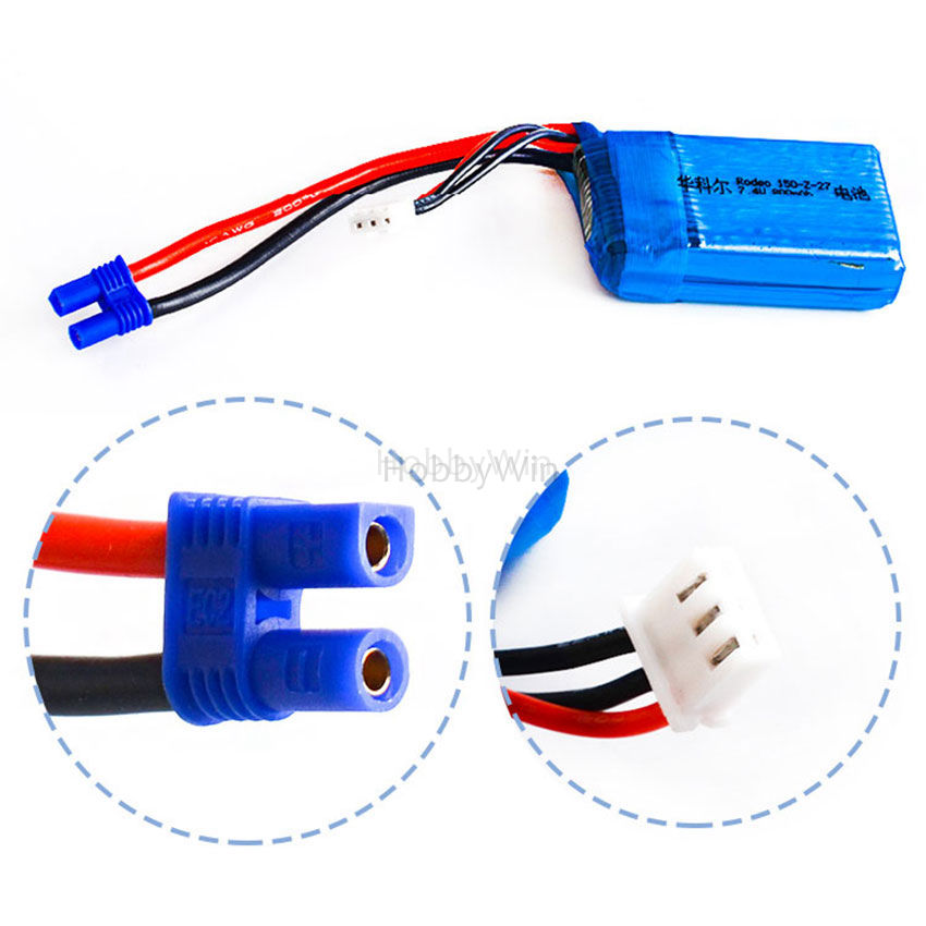 2S <font><b>7.4V</b></font> <font><b>800mAh</b></font> 30C LiPO <font><b>Battery</b></font> EC2 plug for Walkera F150 RC Drone Rodeo 150-Z-27 image