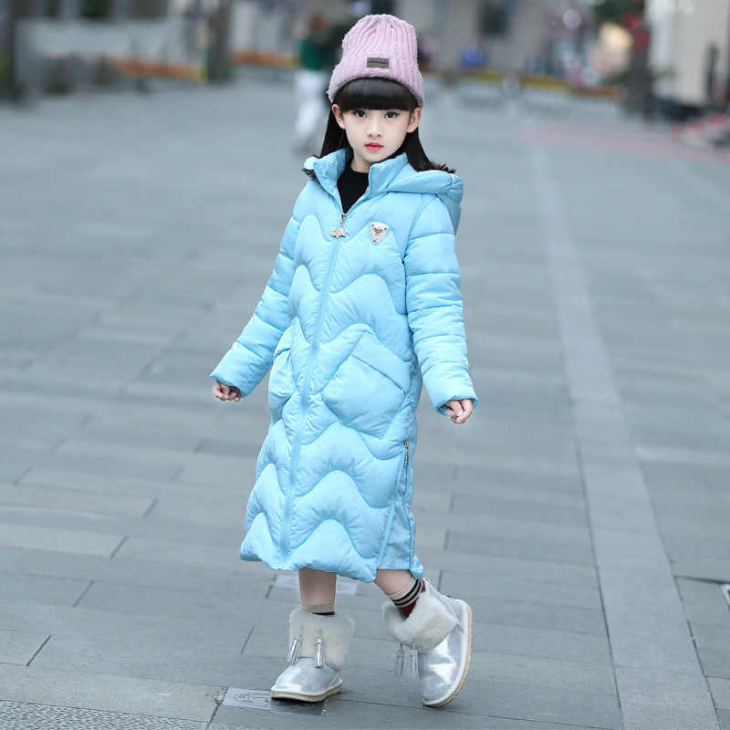 -30 ロシア新 2019 長波女の子冬ジャケット子供暖かい厚手のロングダウンコート十代 4Y-14Y