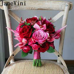 JaneVini Gorgeous Pink Flowers Bride Bouquet Red Rose Peony Artificial Rose Red Wedding Bridal Bouquets Buquet	Ramo Flores Novia