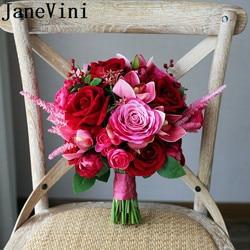 JaneVini hermosas Flores rosadas Ramo de Novia rosa roja peonía rosa roja boda ramos de Novia Buquet Ramo Flores Novia