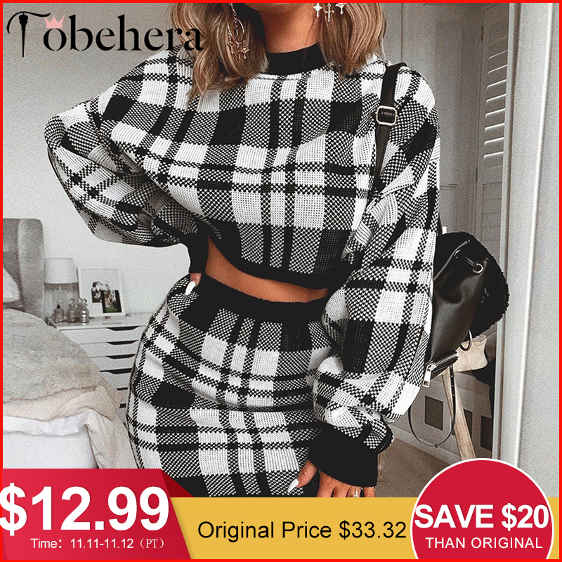 Glamaker Black Knitted Plaid Sweater Dress Women Winter Two-piece Suit Elegant Short Dress Female Streetwear Autumn Dress Party