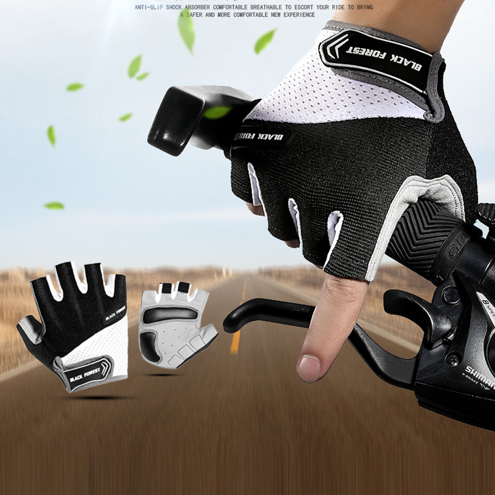Unisex Breathable Cycling Gloves Mountain Bike Half Finger Gloves Men Bicycle Gym Fitness Non-slip Sports Gloves Half Finger