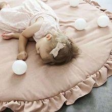 Скандинавские простые украшения для детской комнаты, детское игровое одеяло, кружевной однотонный коврик для ползания, коврик для сна