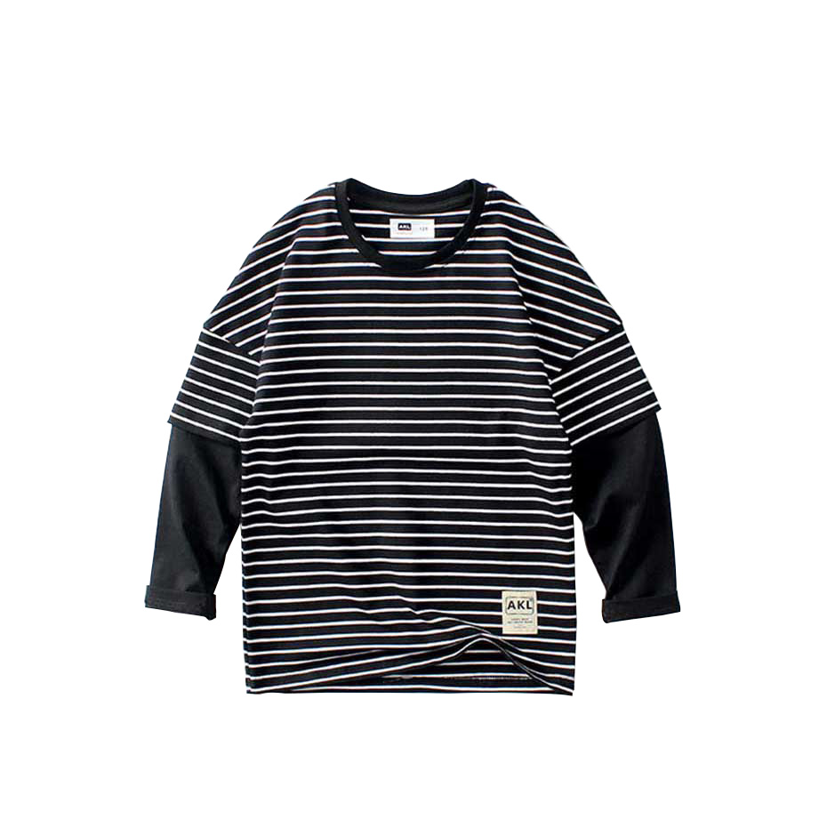 T-<font><b>shirts</b></font> For Boys Striped T-<font><b>shirt</b></font> Boy Patchwork Fake <font><b>2</b></font> Pcs Kids T <font><b>Shirt</b></font> School Spring Autumn Casual Teenage Clothes For Boys image