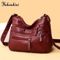 Женская сумка через плечо из мягкой кожи с несколькими отделениями на молнии 1