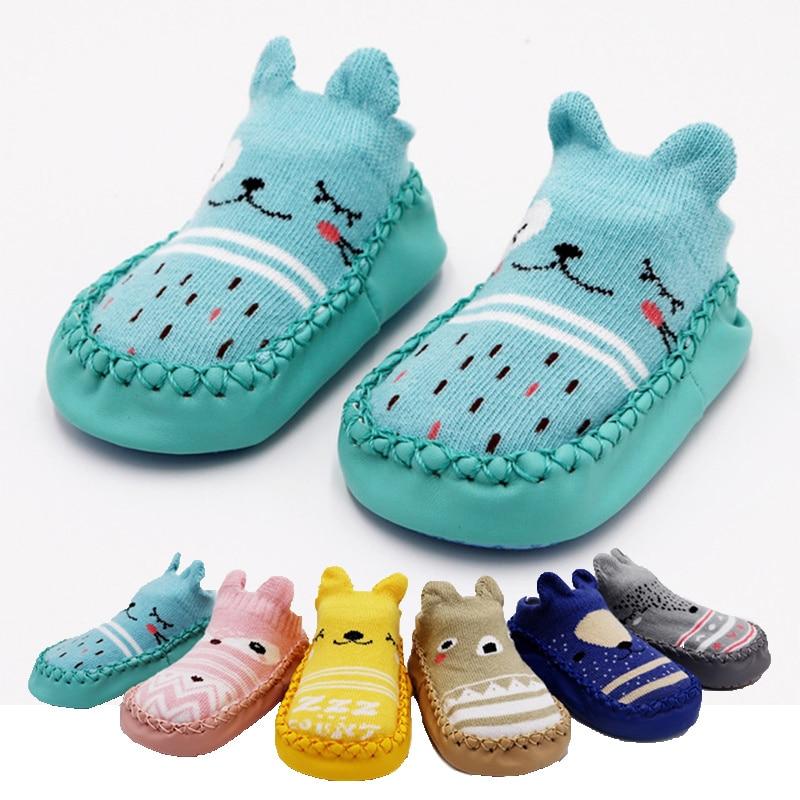 2019 Fashion Baby Socks With Rubber Soles Infant Sock Newborn Autumn Winter Children Floor Socks Shoes Anti Slip Soft Sole Sock