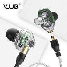 سماعة VJJB N1 مزدوجة ديناميكية مزودة بوحدتين للسائق يمكنك صنعها بنفسك مضخم صوت جهير HIFI مزود بميكروفون + كابل صوت