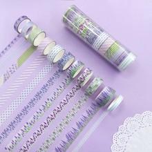 12pcs/set  Fragrance  Tape Lavender Purpl Flower Paper Scrapbooking Masking Tape Adhesive Sticker Stationery Deco Tapes