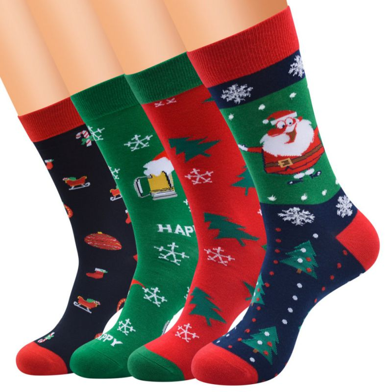 Stockings Christmas Socks Santa Claus Snowflake Women's New Men's Tube And Long Section To Increase Europe And America Red Black