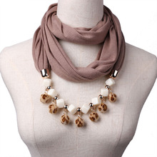 Leopard print pom-pom pendant small hairball Necklace scarf female fashion necklace in spring autumn winter