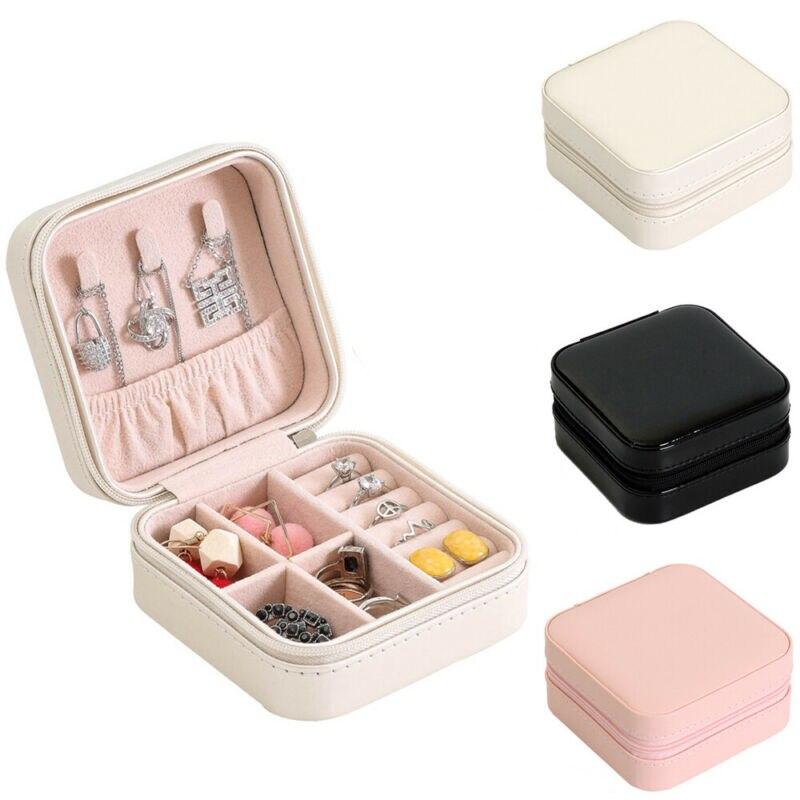 Women Jewelry Box Travel Cosmetic Necklace Ring Storage Case Zipper Jewelry Organizer Display Mini Box PU Leather Waterproof