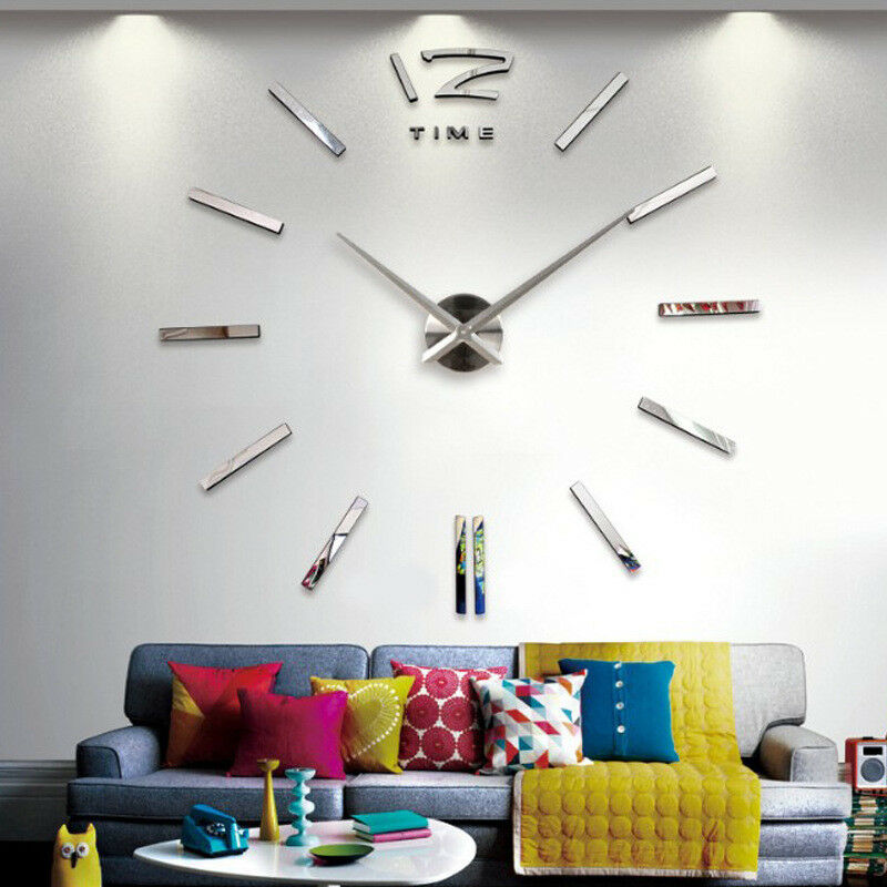 Wall-Clock Number Acrylic-Sticker Mirror-Surface Home-Decor Modern-Design Large Dropship