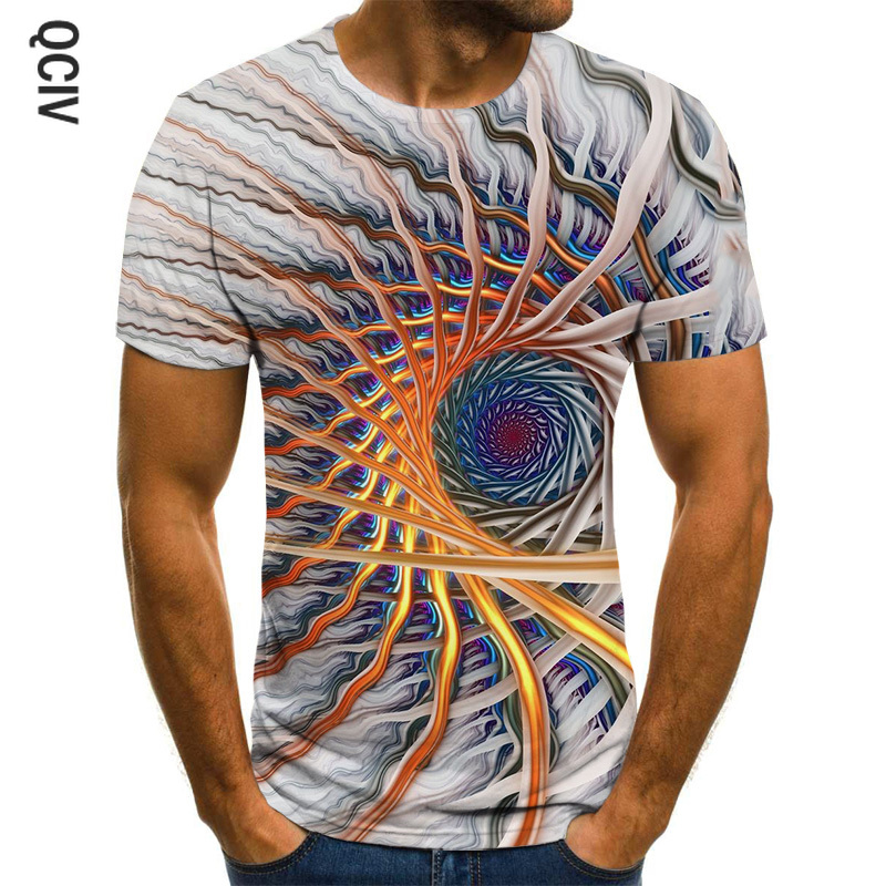 Fun 3D men's T-shirt black three-dimensional graphic T-shirt men's casual tops summer fashion O-neck shirt plus size streetwear