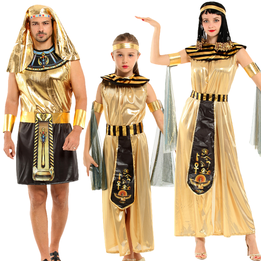 Party Halloween Egyptian Parent Child Cleopatra Costume Egypt Queen Cosplay Sexy Golden Fancy Dress