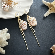 Special European and American ocean style of the long style of the ear of the ear of the personality of the earring of the sea