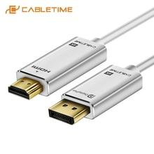 Cabletime 4k displayport para hdmi cabo 30hz dp para hdmi dp m/m gold-plated dp 1.2 para hdtv projetor computador portátil monitor c085