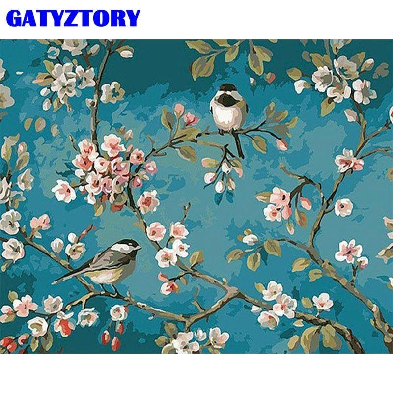 Gatyztory 40x50cm imagem sem moldura por números pintados à mão presente único para adultos pássaro na árvore paisagem pintura casa artesanato