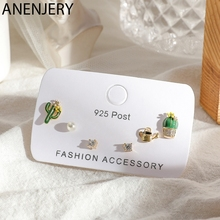 ANENJERY Delicate Cute Cactus Potted Pearl Zircon Small 6-piece Earrings Set Creative Ear Jewelry For Women S-E1212