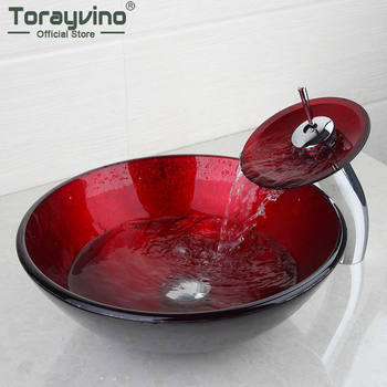 Torayvino Hand Painting Finish Basin Sink Artistic Style Vessel Vanity With Brass Waterfall Faucet Basin Mixer Tap Set 4101-1