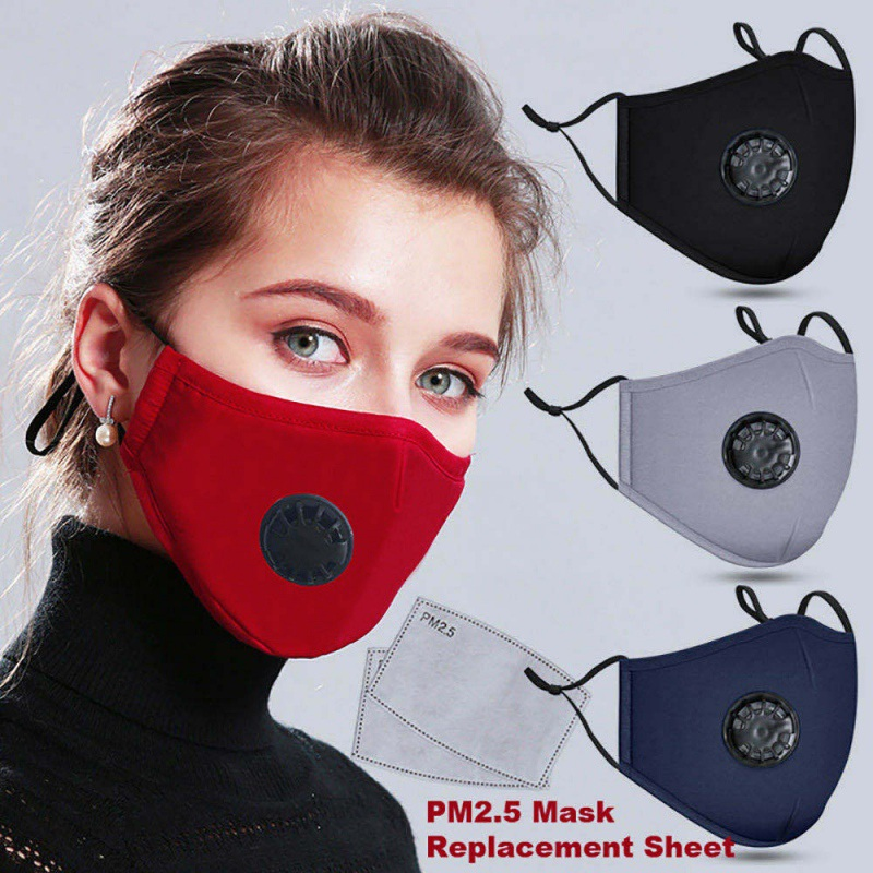 Reusable Cotton Haze Valve Mouth Face Mask Cover Respirator Anti-Dust + PM2.5 Mask 2 Filters Activated Mouth-muffle Masks
