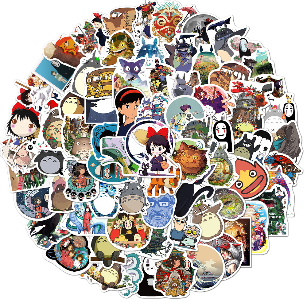 50/100PCS Miyazaki Hayao Anime Stickers Moving Castle Spirited Away Cartoon Stickers For Bike Laptop Book Luggage Kids Toys 2